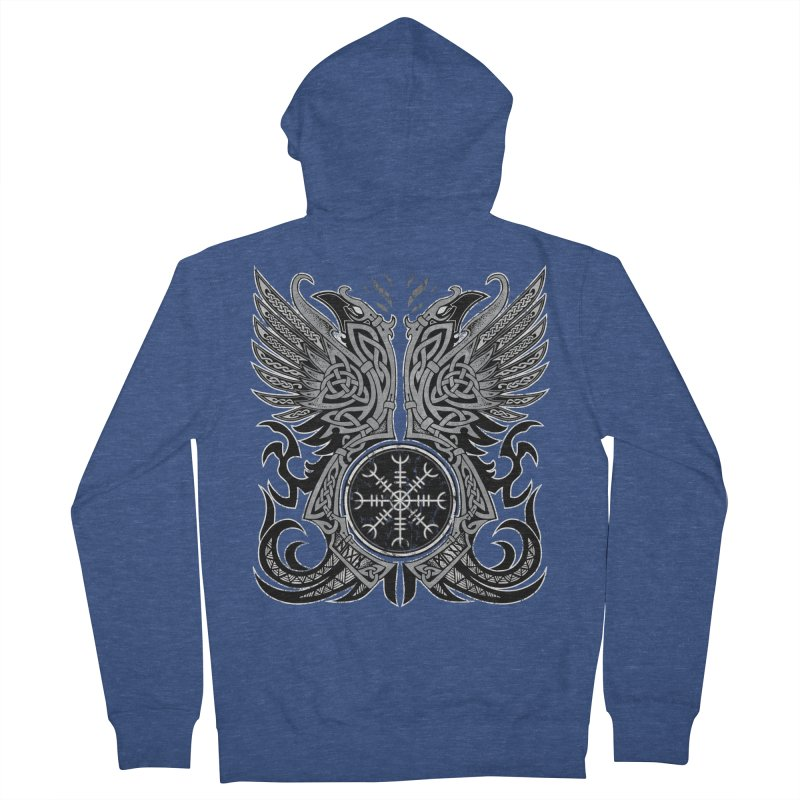 Huginn & Muninn, Odin's Ravens Men's French Terry Zip-Up Hoody by Celtic Hammer Club