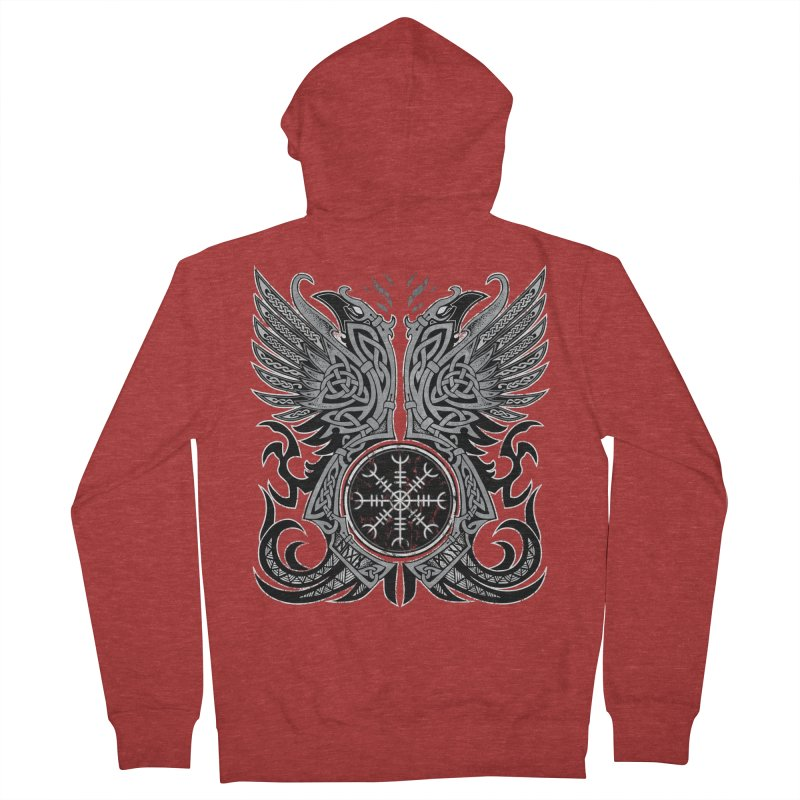 Huginn & Muninn, Odin's Ravens Men's French Terry Zip-Up Hoody by Celtic Hammer Club