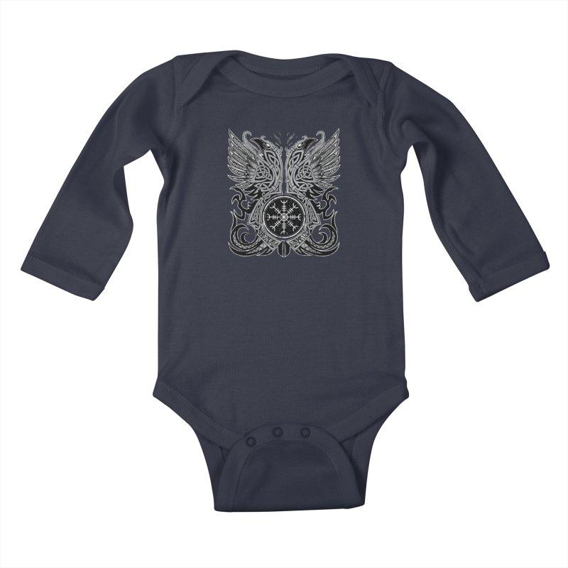 Huginn & Muninn, Odin's Ravens Kids Baby Longsleeve Bodysuit by Celtic Hammer Club