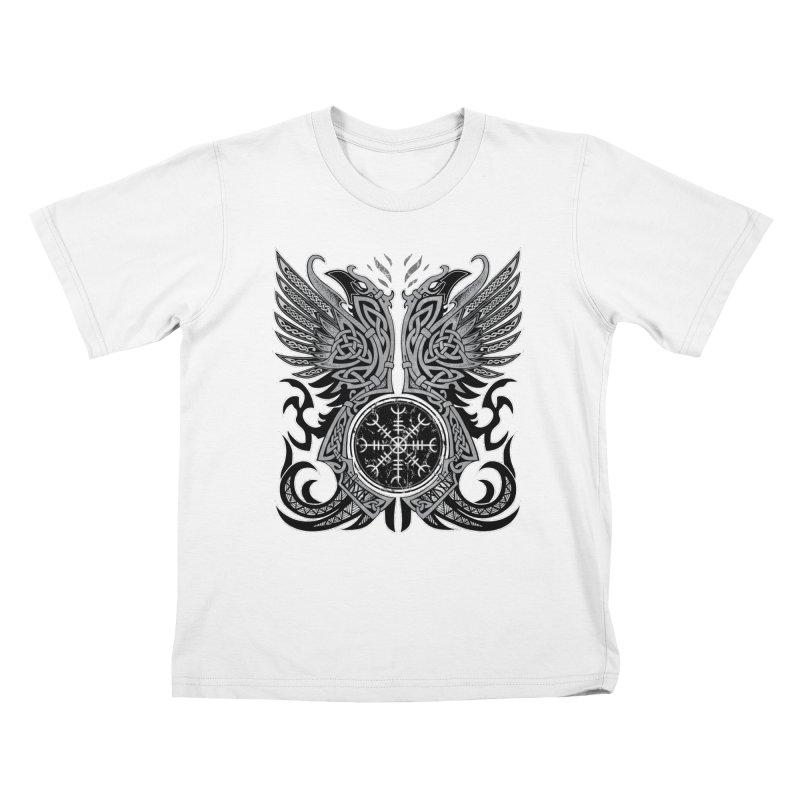 Huginn & Muninn, Odin's Ravens Kids T-Shirt by Celtic Hammer Club