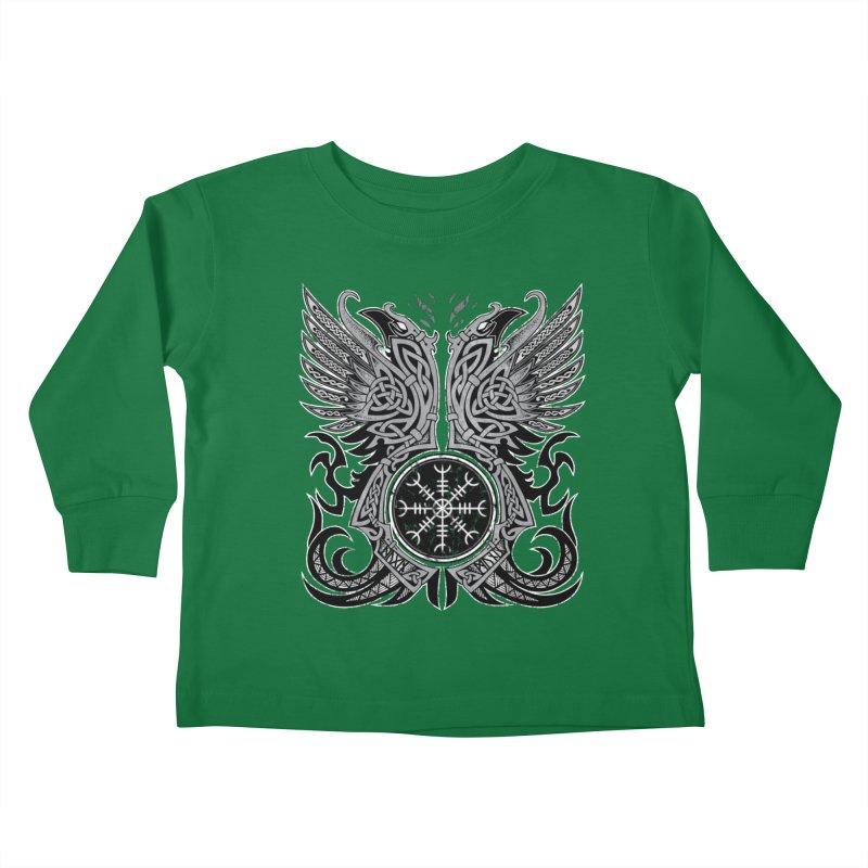 Huginn & Muninn, Odin's Ravens Kids Toddler Longsleeve T-Shirt by Celtic Hammer Club