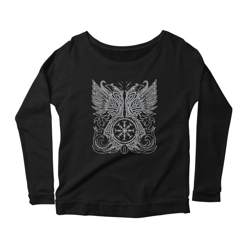 Huginn & Muninn, Odin's Ravens Women's Scoop Neck Longsleeve T-Shirt by Celtic Hammer Club