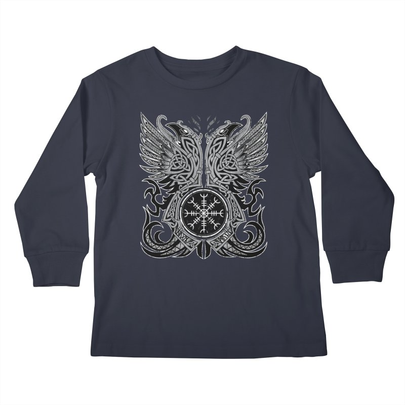 Huginn & Muninn, Odin's Ravens Kids Longsleeve T-Shirt by Celtic Hammer Club