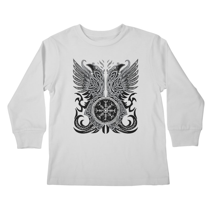Huginn & Muninn, Odin's Ravens Kids Longsleeve T-Shirt by Celtic Hammer Club