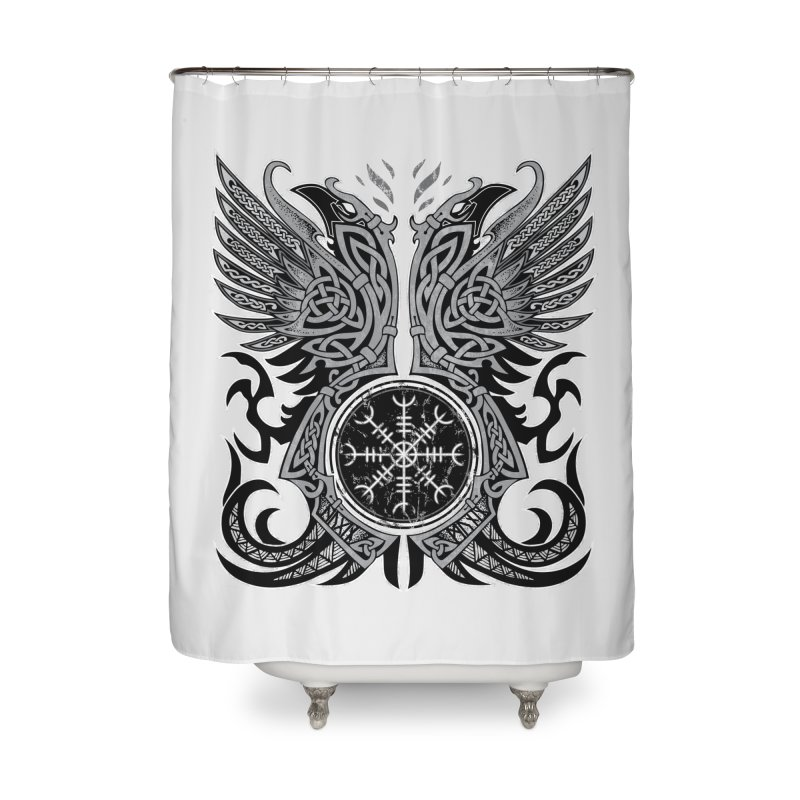 Huginn & Muninn, Odin's Ravens Home Shower Curtain by Celtic Hammer Club