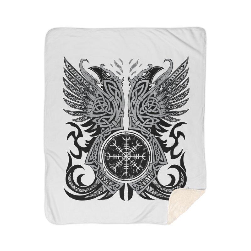 Huginn & Muninn, Odin's Ravens Home Sherpa Blanket Blanket by Celtic Hammer Club