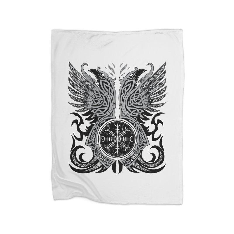 Huginn & Muninn, Odin's Ravens Home Blanket by Celtic Hammer Club