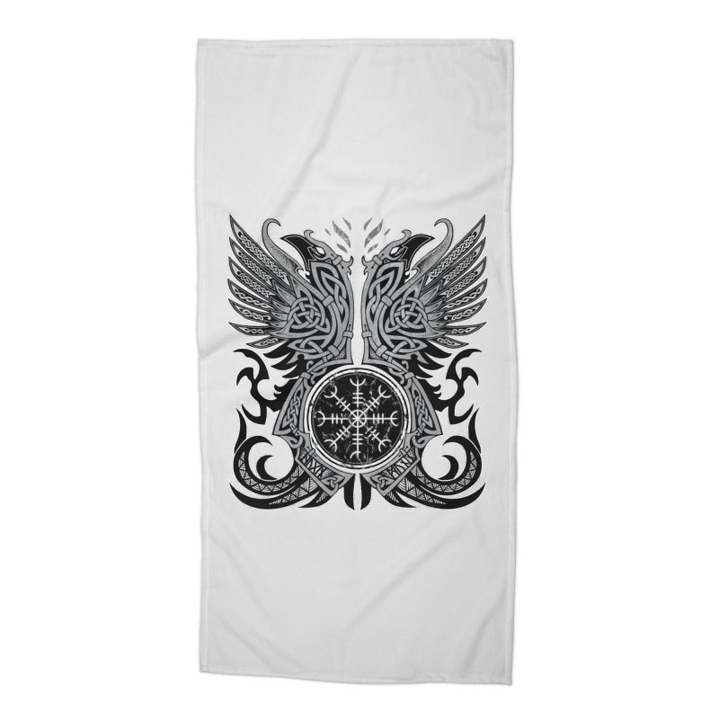 Huginn & Muninn, Odin's Ravens Accessories Beach Towel by Celtic Hammer Club