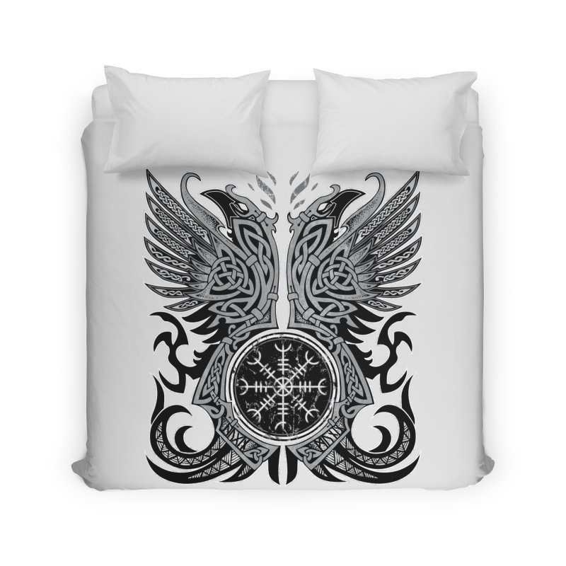 Huginn & Muninn, Odin's Ravens Home Duvet by Celtic Hammer Club