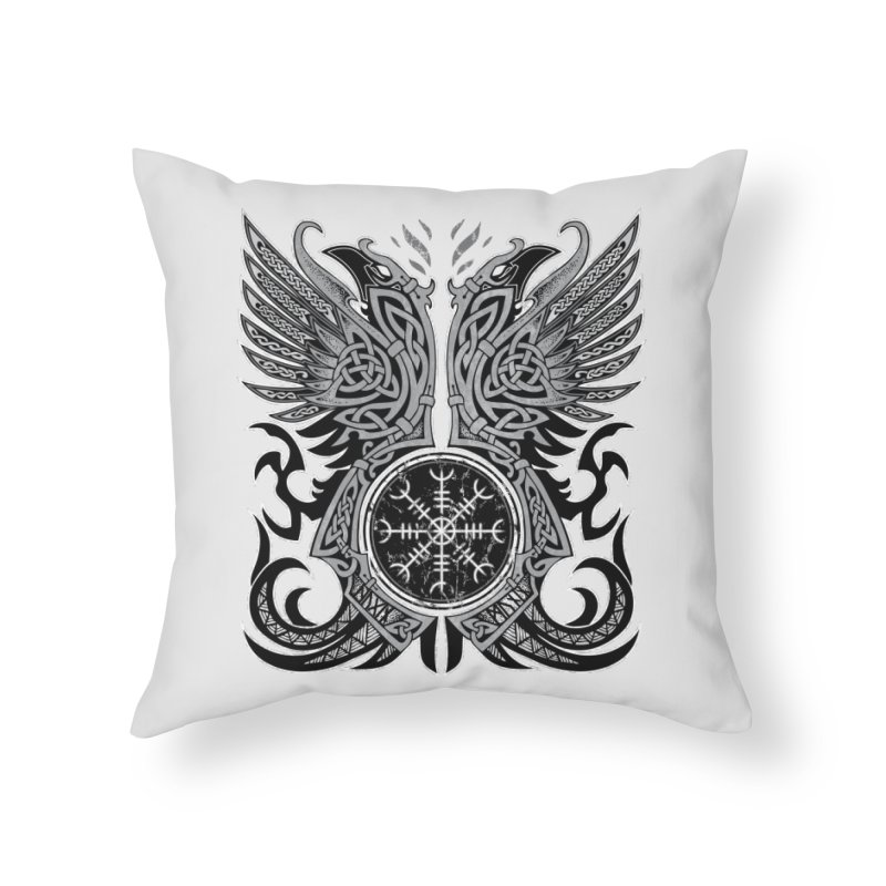 Huginn & Muninn, Odin's Ravens Home Throw Pillow by Celtic Hammer Club