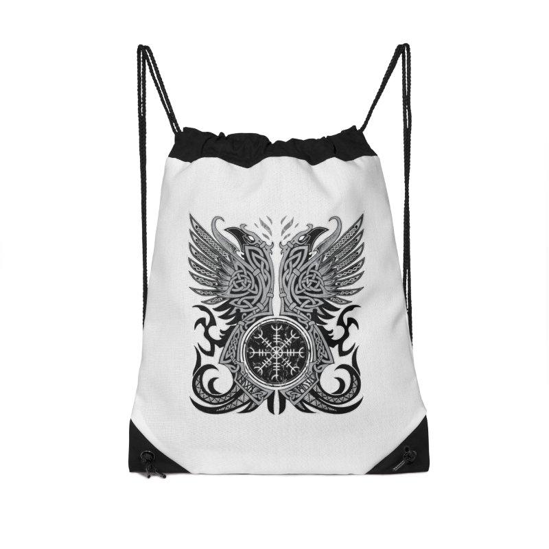 Huginn & Muninn, Odin's Ravens Accessories Drawstring Bag Bag by Celtic Hammer Club