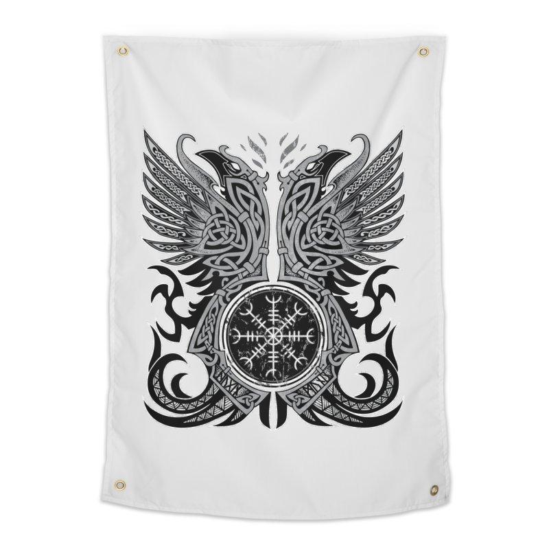 Huginn & Muninn, Odin's Ravens Home Tapestry by Celtic Hammer Club