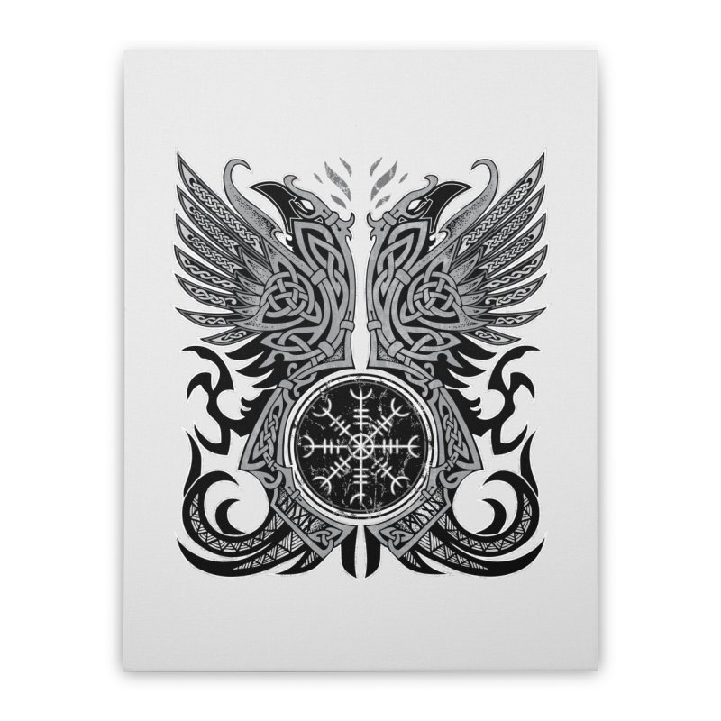 Huginn & Muninn, Odin's Ravens Home Stretched Canvas by Celtic Hammer Club