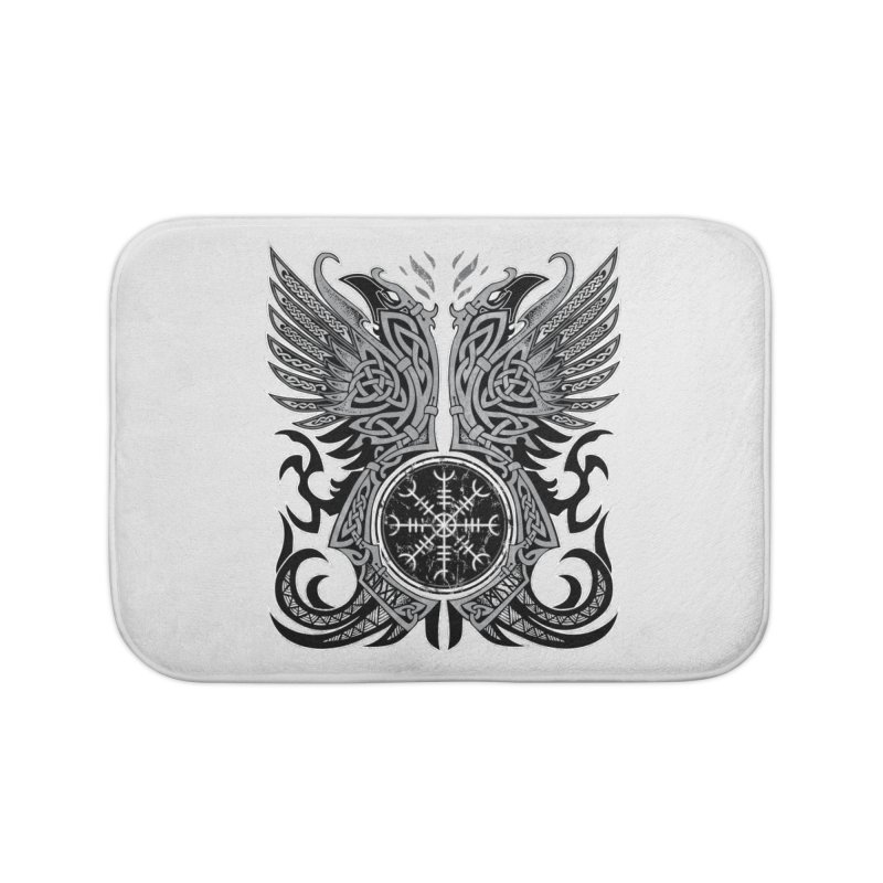 Huginn & Muninn, Odin's Ravens Home Bath Mat by Celtic Hammer Club