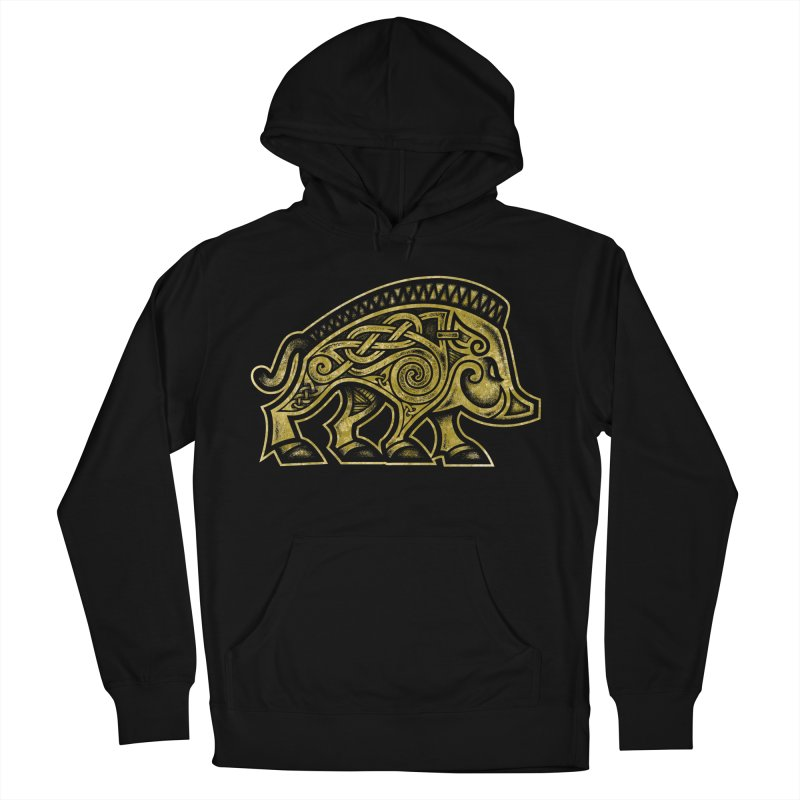 Boar War Pig Men's French Terry Pullover Hoody by Celtic Hammer Club