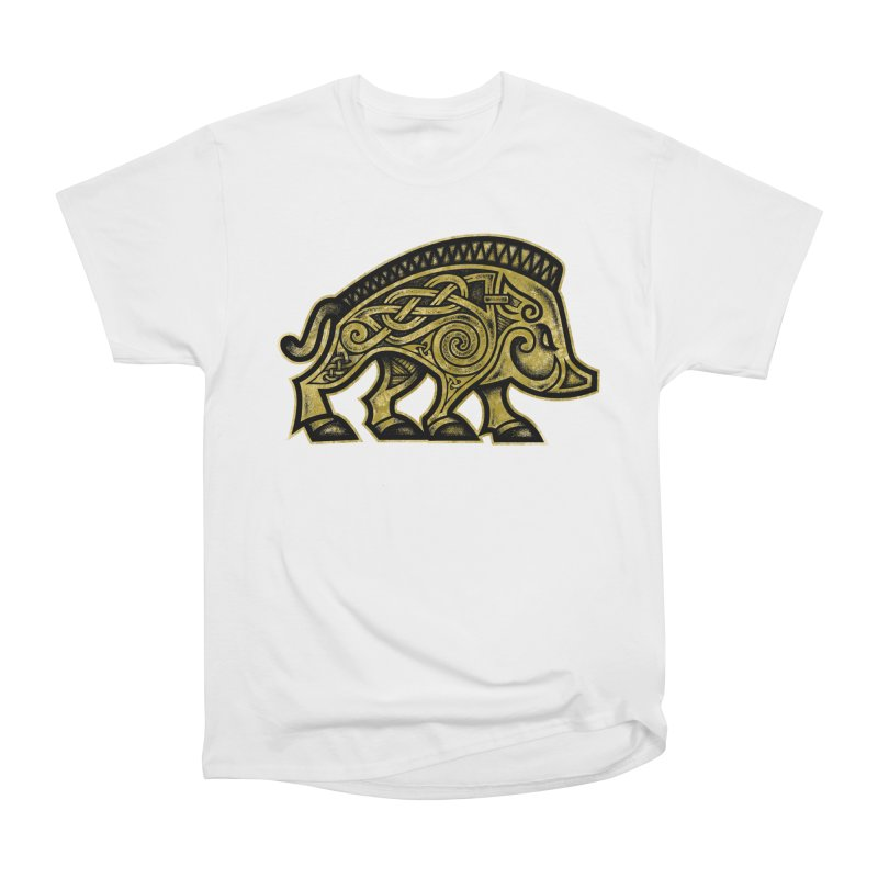 Boar War Pig Men's Heavyweight T-Shirt by Celtic Hammer Club