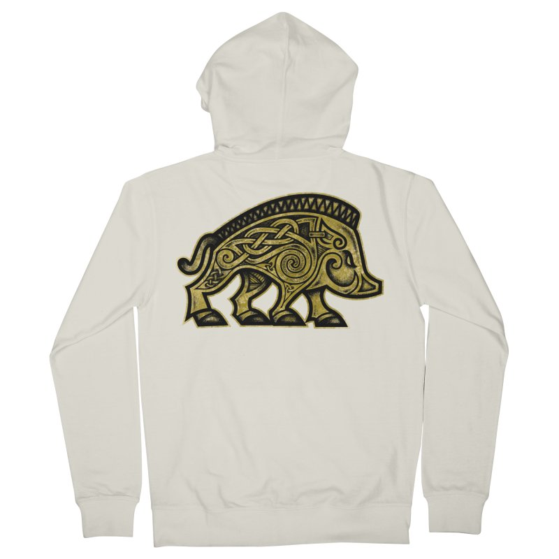 Boar War Pig Men's French Terry Zip-Up Hoody by Celtic Hammer Club