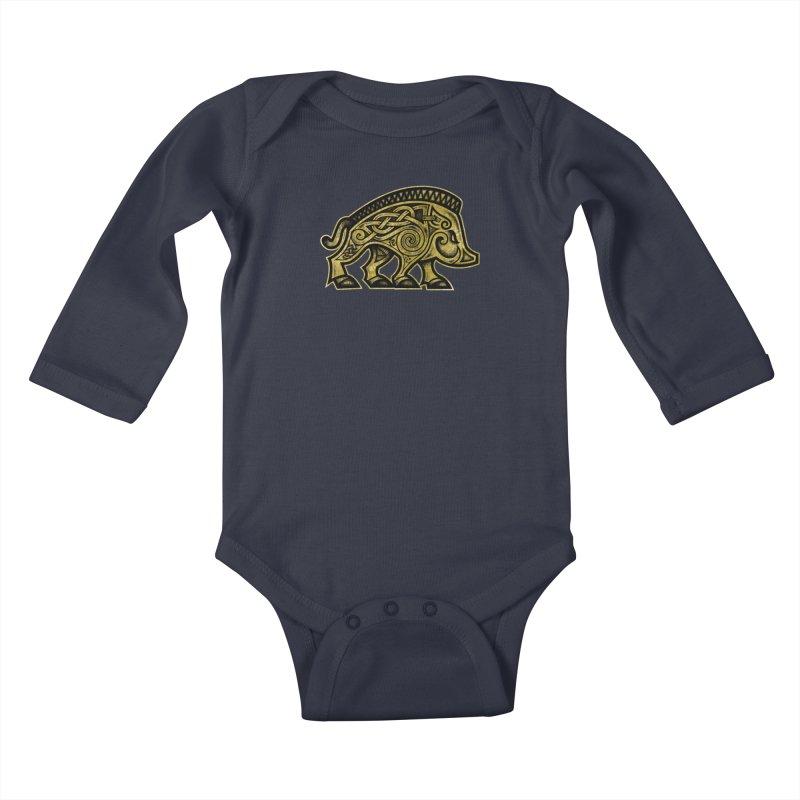 Boar War Pig Kids Baby Longsleeve Bodysuit by Celtic Hammer Club