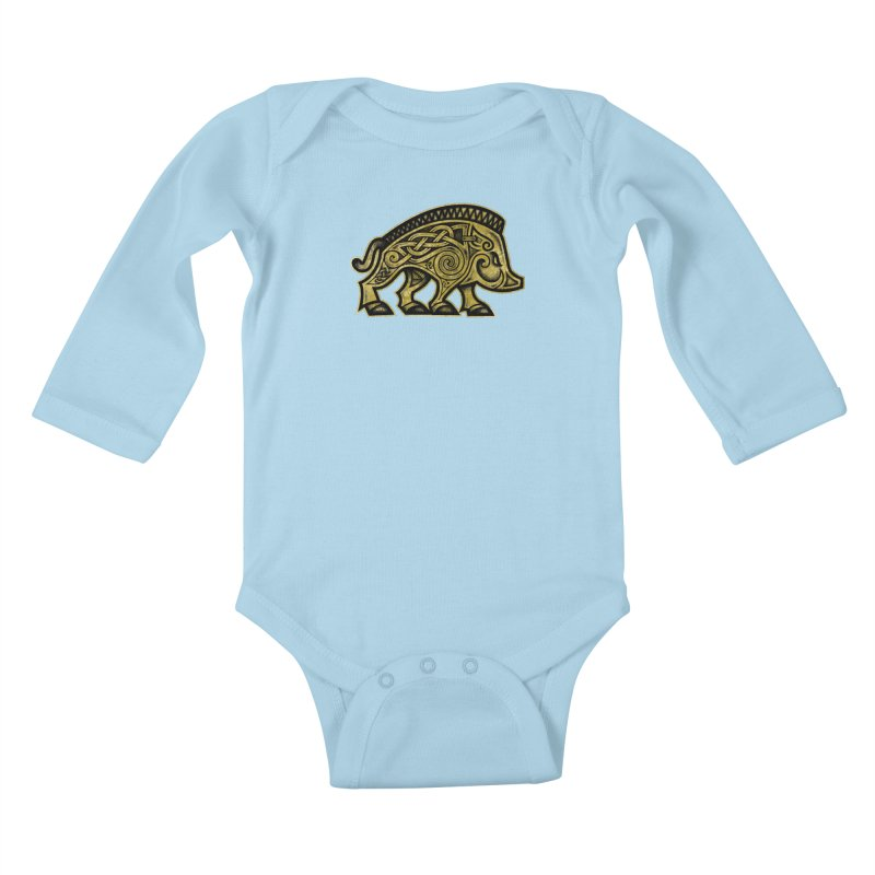 Boar War Pig Kids Baby Longsleeve Bodysuit by Celtic Hammer Club