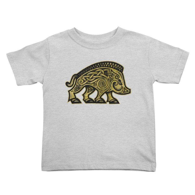 Boar War Pig Kids Toddler T-Shirt by Celtic Hammer Club