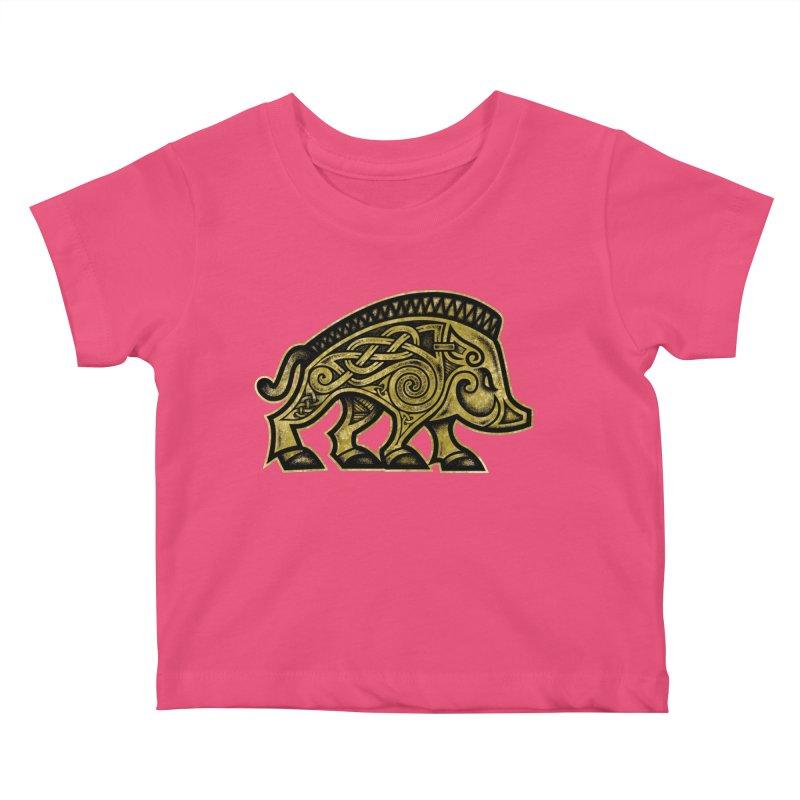 Boar War Pig Kids Baby T-Shirt by Celtic Hammer Club