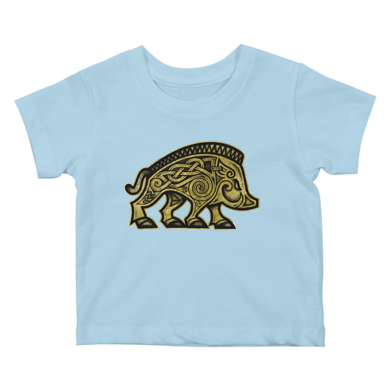 Boar War Pig Kids Baby T-Shirt by Celtic Hammer Club