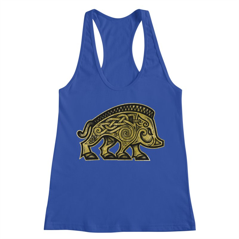 Boar War Pig Women's Racerback Tank by Celtic Hammer Club