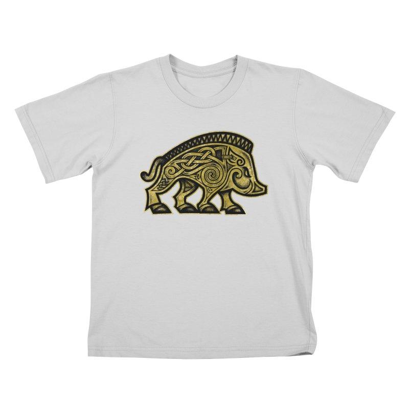 Boar War Pig Kids T-Shirt by Celtic Hammer Club