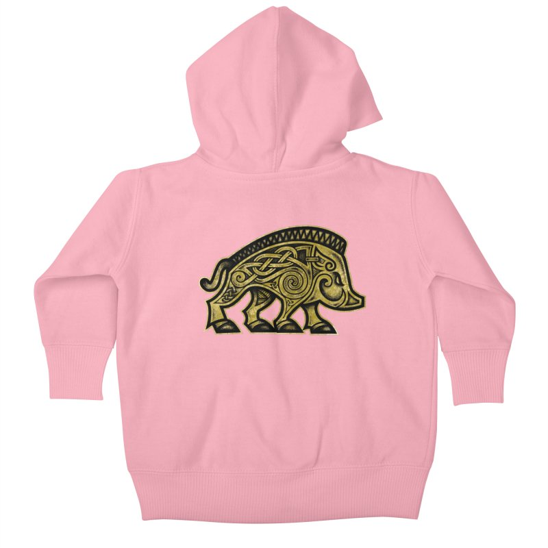 Boar War Pig Kids Baby Zip-Up Hoody by Celtic Hammer Club
