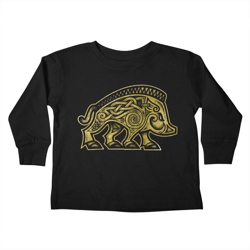 Boar War Pig Kids Toddler Longsleeve T-Shirt by Celtic Hammer Club