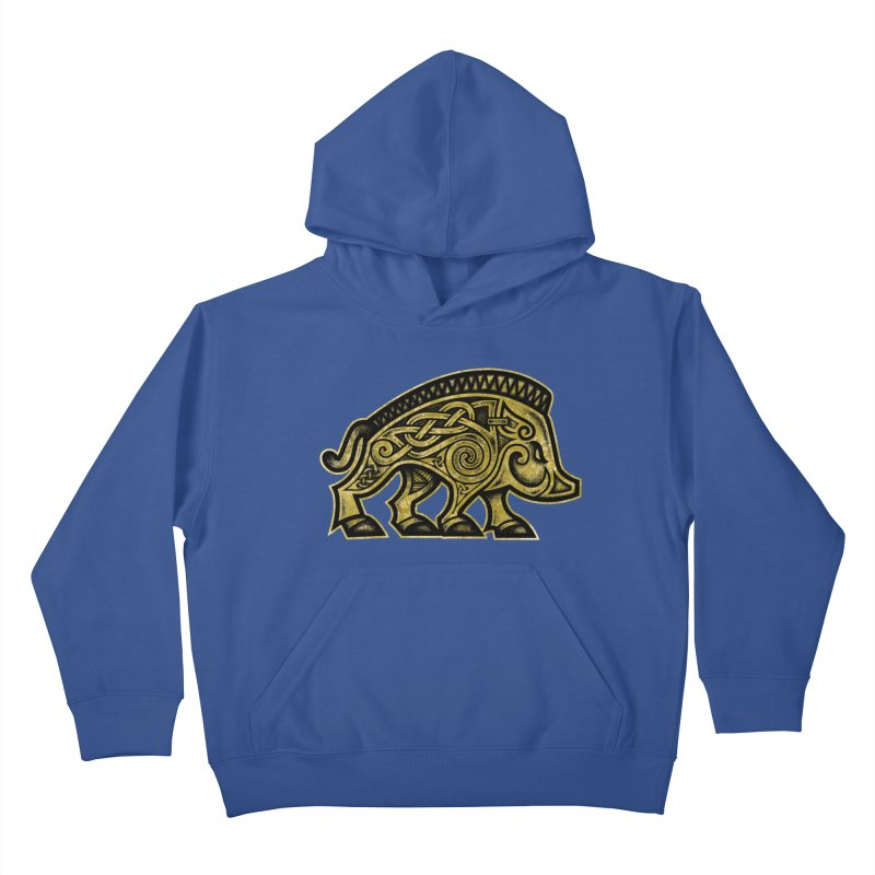 Boar War Pig Kids Pullover Hoody by Celtic Hammer Club