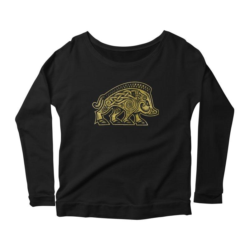 Boar War Pig Women's Scoop Neck Longsleeve T-Shirt by Celtic Hammer Club