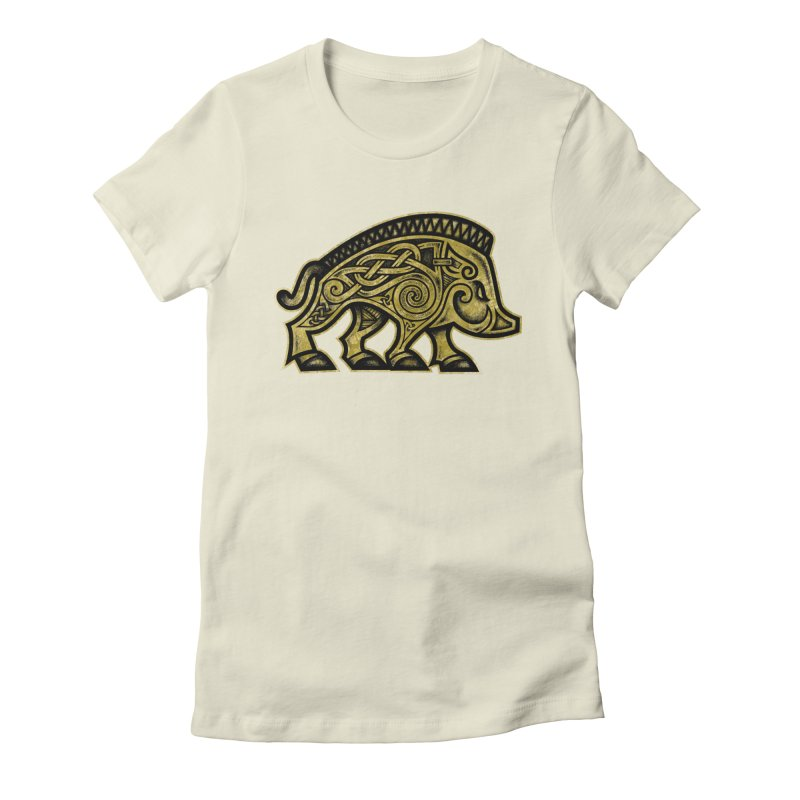 Boar War Pig Women's Fitted T-Shirt by Celtic Hammer Club