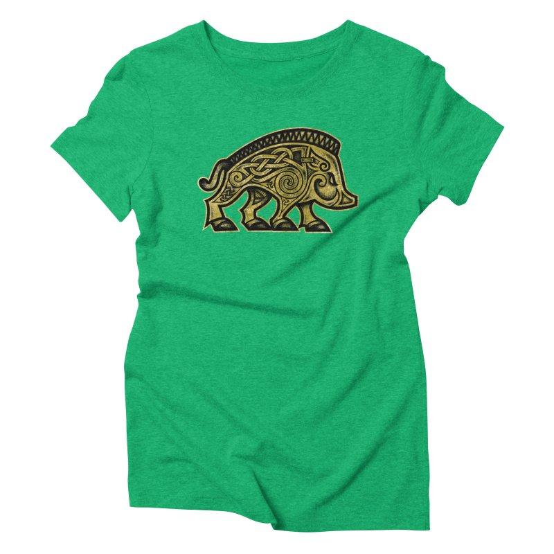 Boar War Pig Women's Triblend T-Shirt by Celtic Hammer Club