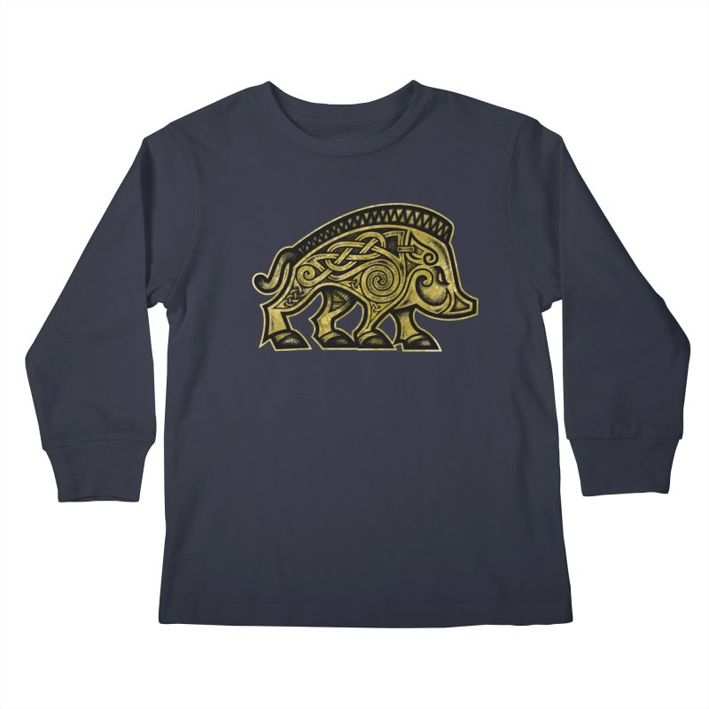 Boar War Pig Kids Longsleeve T-Shirt by Celtic Hammer Club