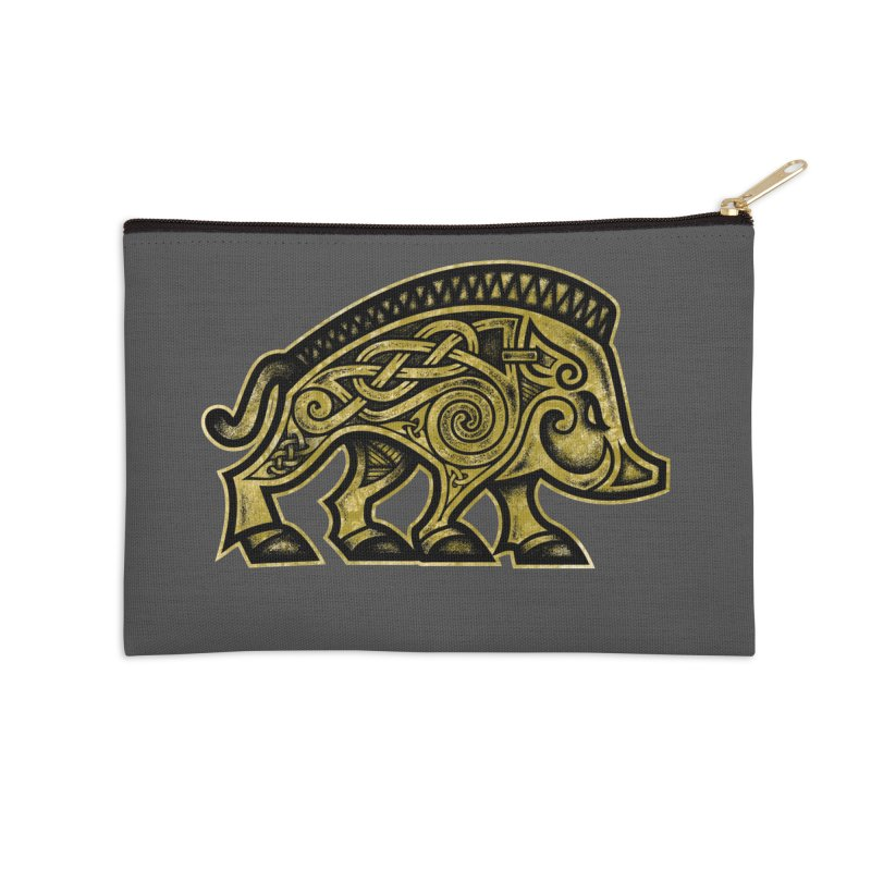 Boar War Pig Accessories Zip Pouch by Celtic Hammer Club