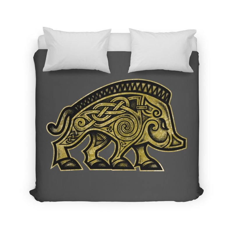 Boar War Pig Home Duvet by Celtic Hammer Club