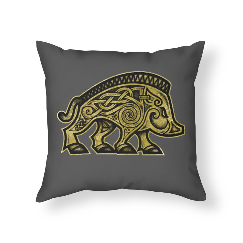 Boar War Pig Home Throw Pillow by Celtic Hammer Club