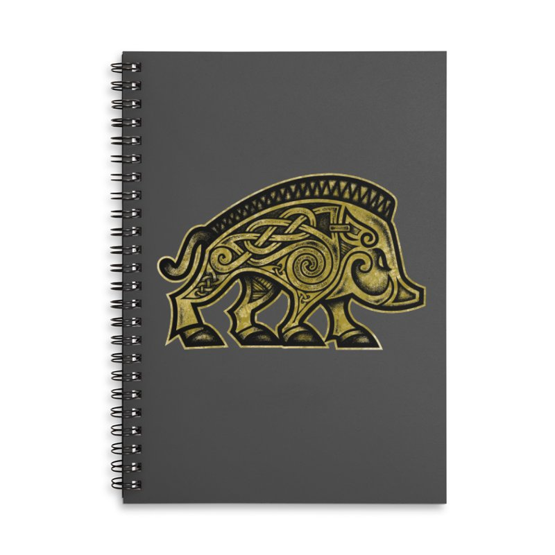 Boar War Pig Accessories Lined Spiral Notebook by Celtic Hammer Club
