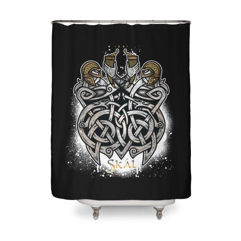 Skál Home Shower Curtain by Celtic Hammer Club