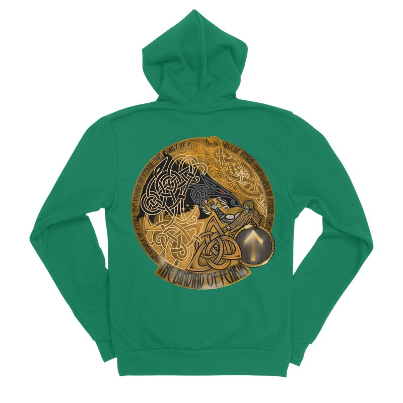 The Binding of Fenrir Men's Sponge Fleece Zip-Up Hoody by Celtic Hammer Club