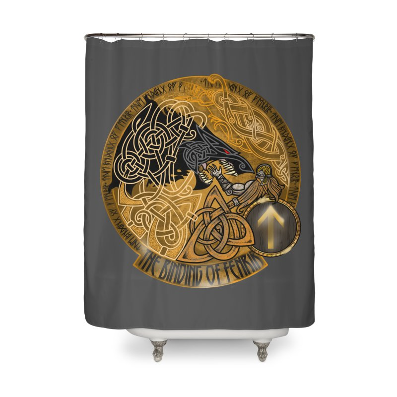 The Binding of Fenrir Home Shower Curtain by Celtic Hammer Club
