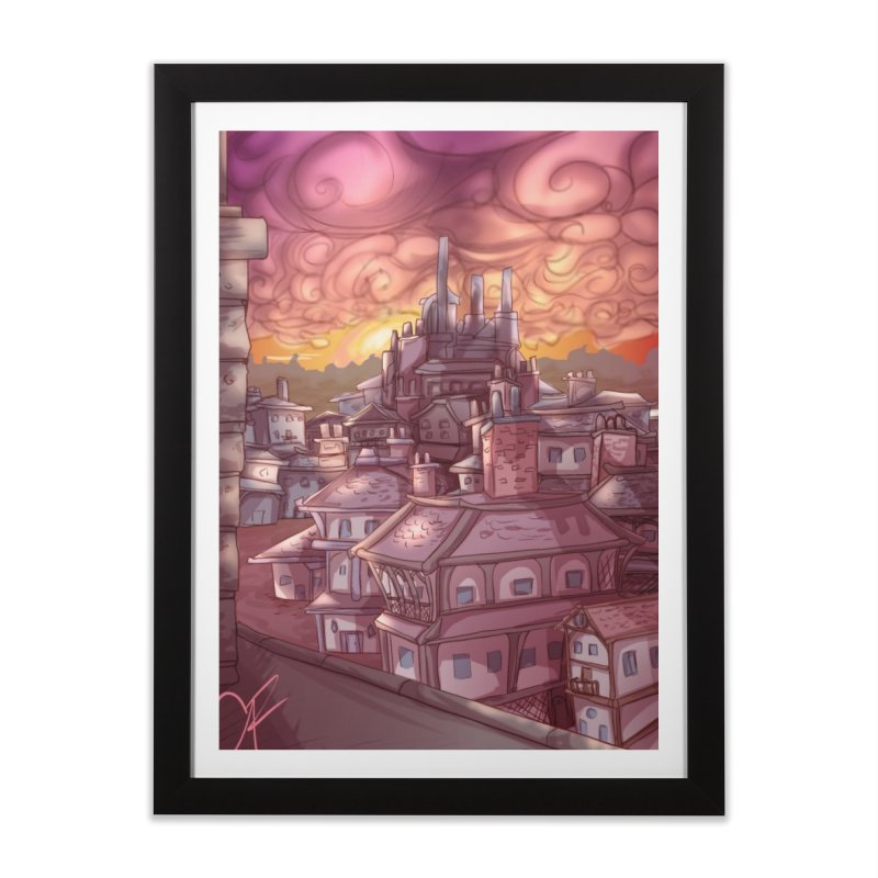 Smokey Cityscape at Sunset Home Framed Fine Art Print by Magpies and Pigeons