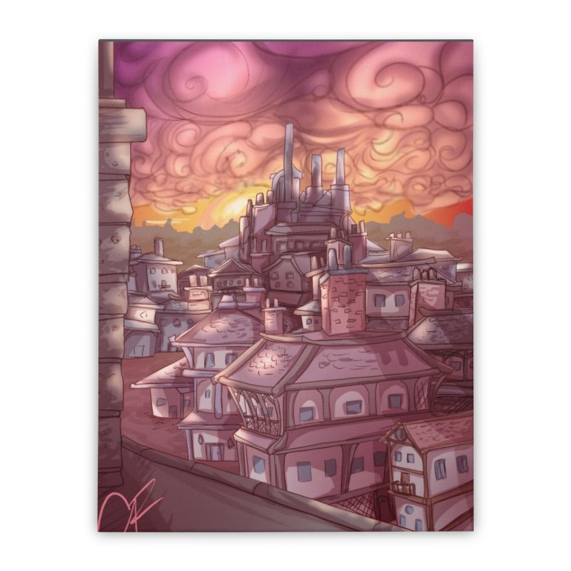 Smokey Cityscape at Sunset Home Stretched Canvas by Magpies and Pigeons