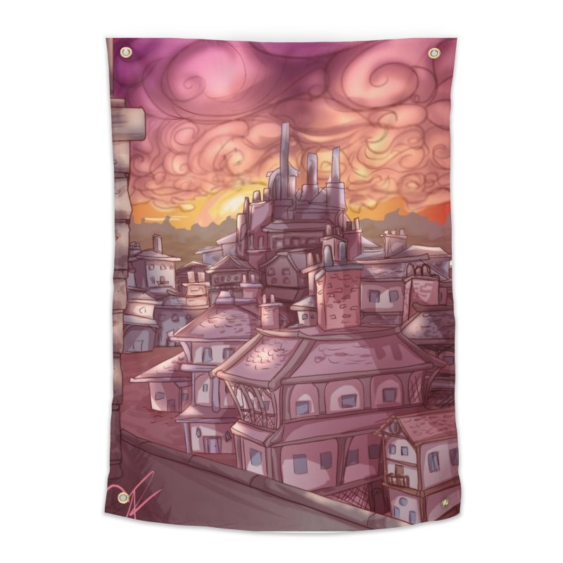 Smokey Cityscape at Sunset Home Tapestry by Magpies and Pigeons