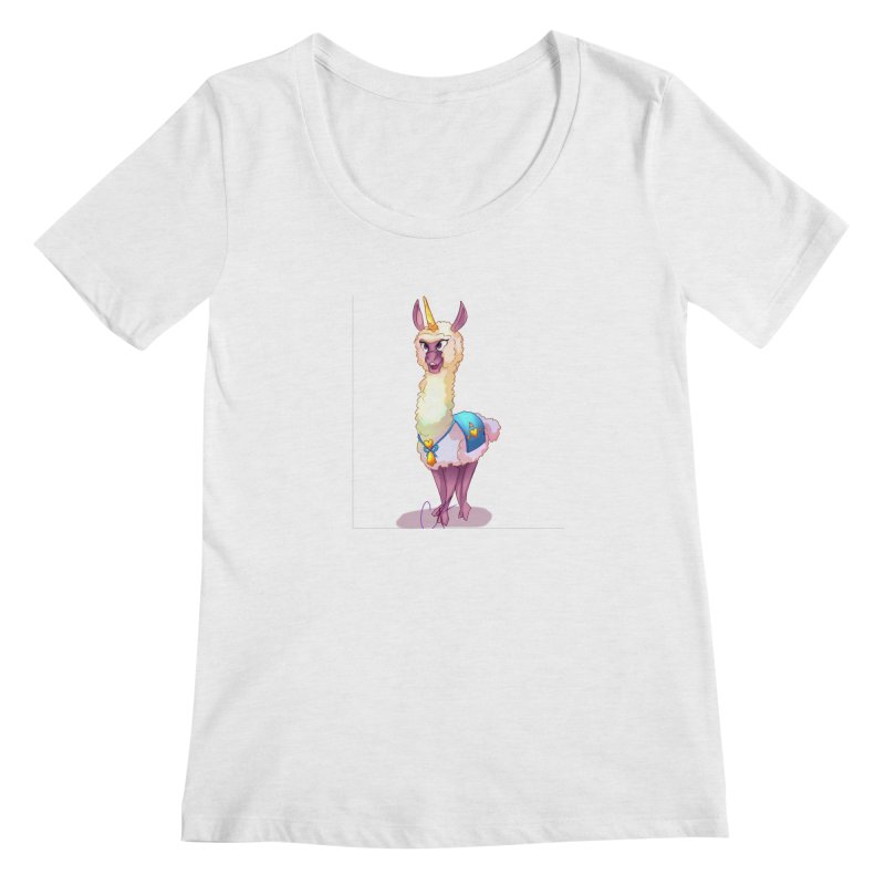 Llamacorn Women's Regular Scoop Neck by Magpies and Pigeons