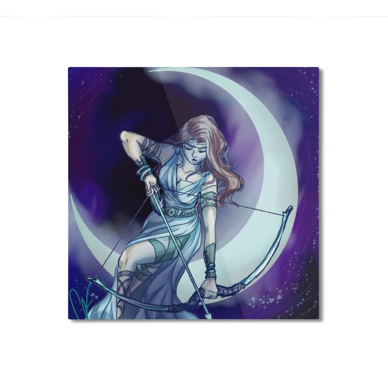 Artemis Home Mounted Aluminum Print by Magpies and Pigeons