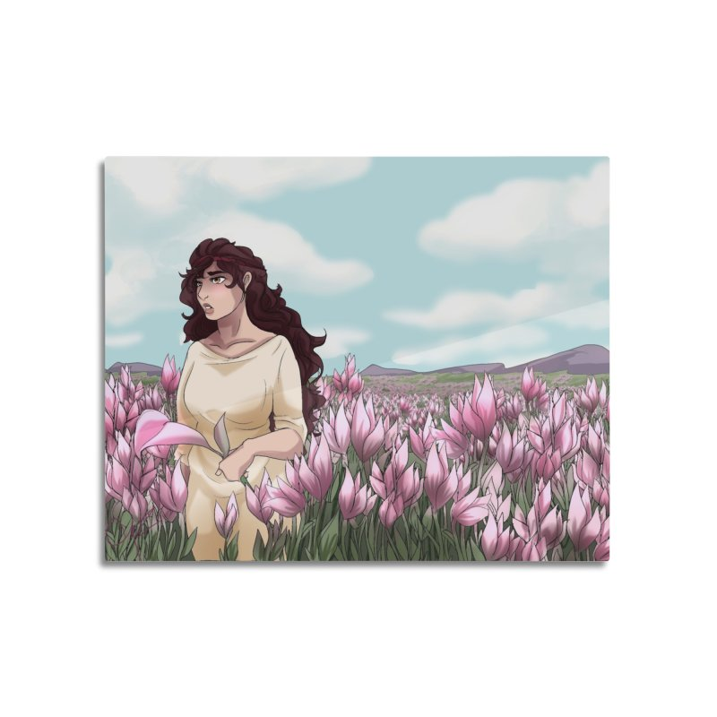 Weeping in the Lilies Home Mounted Aluminum Print by Magpies and Pigeons