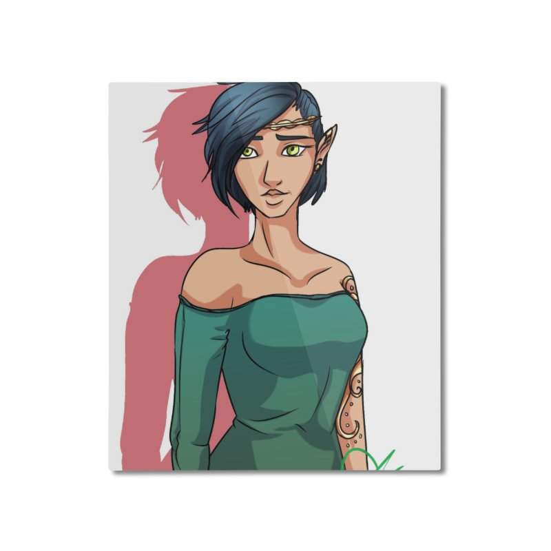 Elf Lady Home Mounted Aluminum Print by Magpies and Pigeons