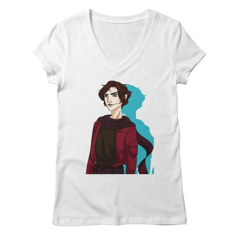 Scarf Man Women's Regular V-Neck by Magpies and Pigeons